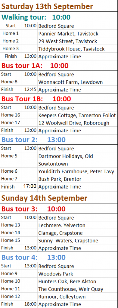 bus and walking Tours schedule