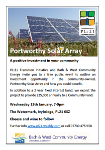 Portworthy Solar Array Ivybridge event flyer