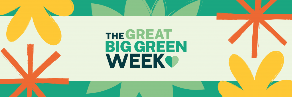 Logo of The Great Big Green Week. Floral in green, yellow and orange.